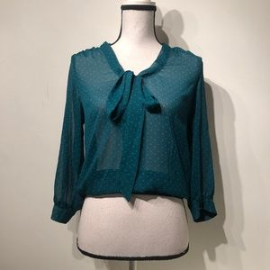Flirty Sheer Teal Polka Dotted Blouse
